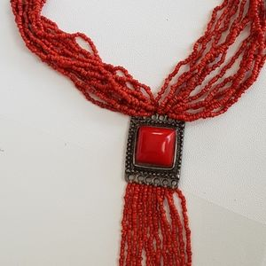 Vintage Red Pendant Beaded Necklace